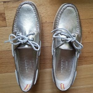 Gold metallic Sperry topsiders by j. Crew